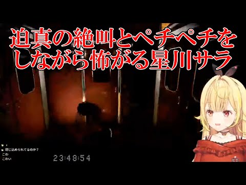 【幽霊列車】迫真の絶叫とペチペチをしながら怖がる星川サラ【にじさんじ切り抜き】