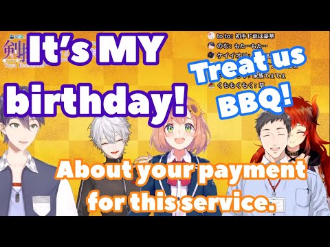 [Eng Subs] Dokuzuhonsha asks for BBQ and money on Kenmochi Touya's birthday [Nijisanji]