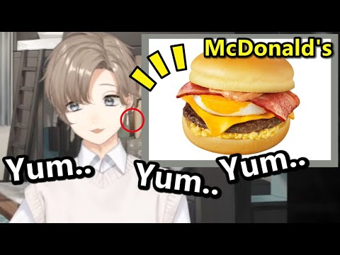 [Eng Sub]Video of Kanae just eating a hamburger, and he also talks about his earrings [Nijisanji]